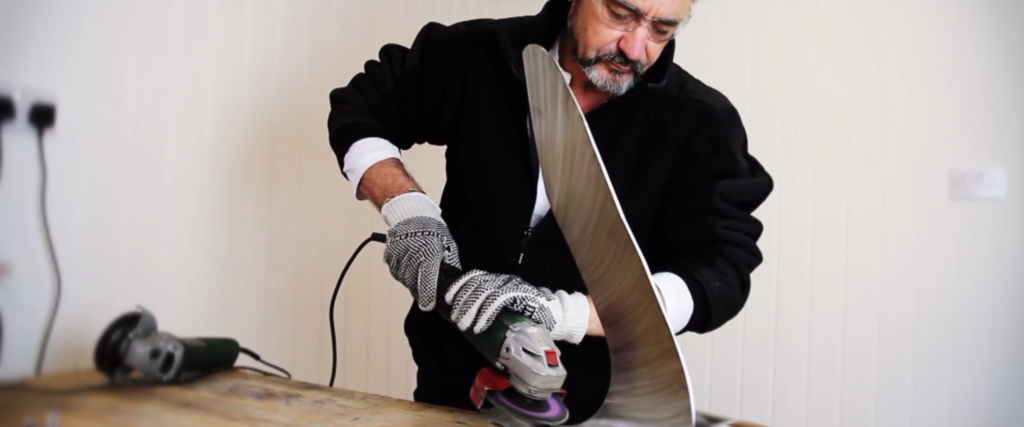 image of sculptor Ian Marlow working